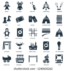 Elements Such As Stage, Tent, Attraction, Teddy bear, Bumper car, Ticket, Ace of clubs, Minion icon vector illustration on white background. Universal 25 icons set.