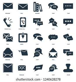 Elements Such As Stamp, Chat, message, Mail, Phone call, Dossier, Mail icon vector illustration on white background. Universal 25 icons set.