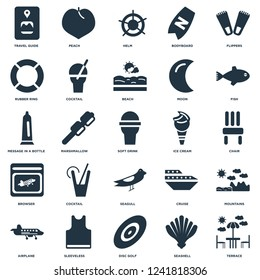 Elements Such As Terrace, Seashell, Disc golf, Sleeveless, Airplane, Fish, Ice cream, Seagull, Browser, Rubber ring, Helm, Peach icon vector illustration on white background. Universal 25 icons set.