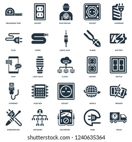 Elements Such As Truck, Wire, Voltmeter, Network, Screwdriver, Battery, Socket, Ethernet, Plug, Electrician, Socket icon vector illustration on white background. Universal 25 icons set.