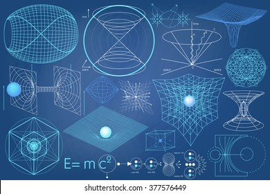 Elements, symbols and schemes of physics, chemistry and sacred geometry. The science theme.
