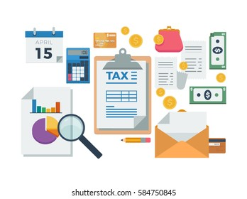 Elements in the theme of tax payment, finance management, analysis and reporting vector illustration icons