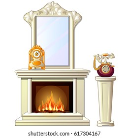 Elements vintage interior isolated on white background. Fireplace with mirror with frame in antique style, table clock and telephone. Vector cartoon close-up illustration.