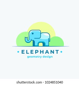 Elephan Geometry Design. Abstract Vector Sign, Symbol or Logo Template. Colorful Tiny Animal Silhouette with Modern Typography. Isolated.
