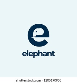 Elephant Abstract Vector Logo Template, Sign or Icon. Elephant Head Incorporated in the Letter E. Negative Space Concept with Modern Typography. Isolated.