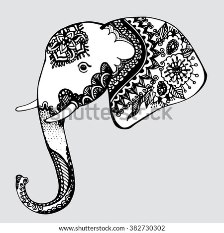 Image of: Coloring Pages Animal Zoo Herbivores Line Art Tattoo Black And White Dudling Zentangl Stylized Decorative Drawing By Hand Isolated Background Vector Shutterstock Elephant Africa Animal Zoo Herbivores Line Stock Vector royalty