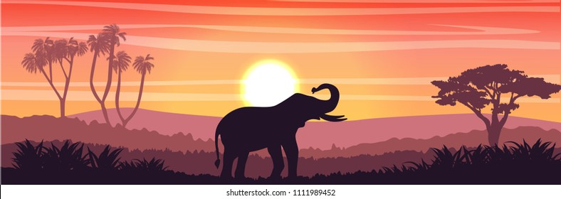 Elephant in the African savanna at sunset. Doum palms, acacia. Silhouettes of animals and plants. Realistic vector landscape. The nature of Africa. Reserves and national parks.