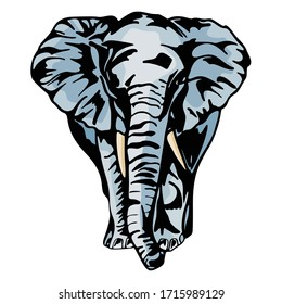 Elephant Animal Cartoon Character. Vector Illustration Template Collection.