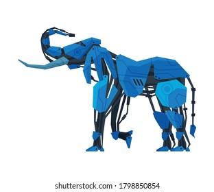 Elephant Animal Robot, Artificial Intelligence Robotic Animal Vector Illustration on White Background