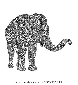 Elephant in asian style. Mandala pattern for adult coloring book. Vector black and white illustration.