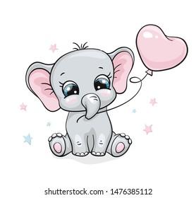 Elephant, baby cute print. Sweet tiny one with ballon an star. Cool african animal illustration for nursery t-shirt, kids apparel, birthday card, invitation Good for pajamas and playroom decor
