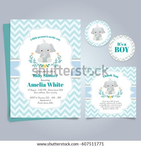 elephant baby shower theme invitation template のベクター画像素材