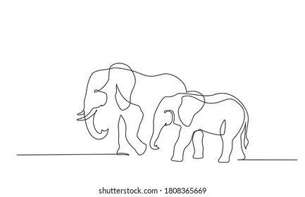 Elephant with baby symbol. Continuous one line drawing. Logo of the elephant. Vector illustration