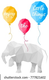 Elephant and balloons polygon vector design