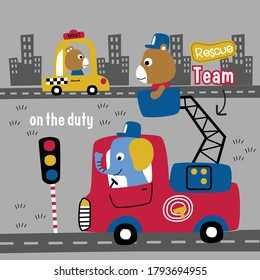 elephant and bear the fire fighter funny animal cartoon,vector illustration