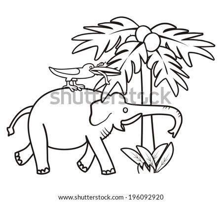 Elephant Bird Coloring Book Vector Illustration Stock Vector