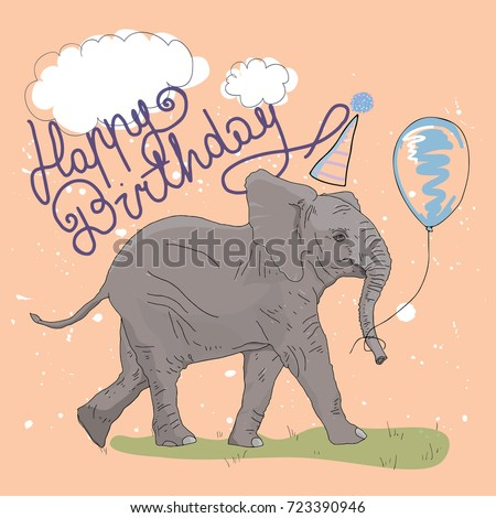 Elephant Birthday Card Stock Vector Royalty Free 723390946