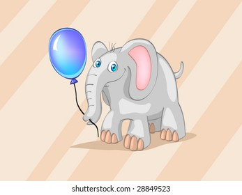 elephant with blue ball on striped background