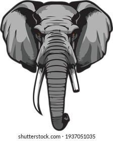 an elephant with a broken teeth colorful icons illustration vector art with transparent background, tattoo, t-shirt print