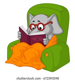 Elephant. Character. Chair reading. Big collection of isolated elephants. Vector, cartoon.