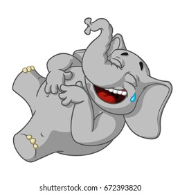Elephant. Character.  Laughs holding her stomach. Big collection of isolated elephants. Vector, cartoon.