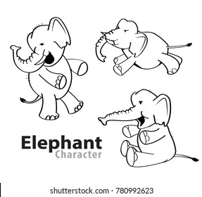 Elephant character llustration cartoon, vector black and white