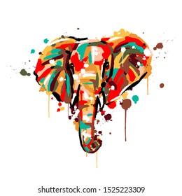 elephant color, brush strokes and splashes, elephant face, vector illustration