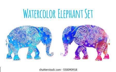 Elephant color illustration vector set. Watercolor. Print for clothing design