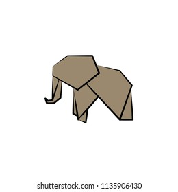 elephant colored origami style icon. Element of animals icon. Made of paper in origami technique vector Illustration elephant icon can be used for web and mobile on white background