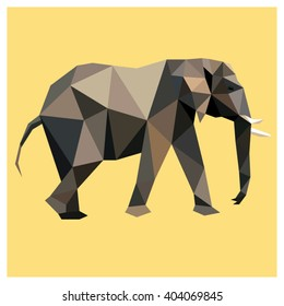 Elephant colorful low poly design isolated on yellow background with white outline. Animal card.