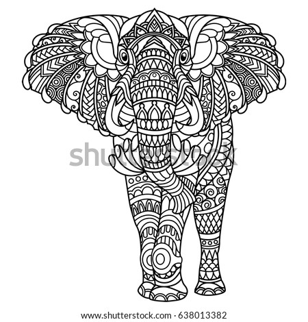 Elephant Coloring Book Adults Stock Vector Royalty Free 638013382