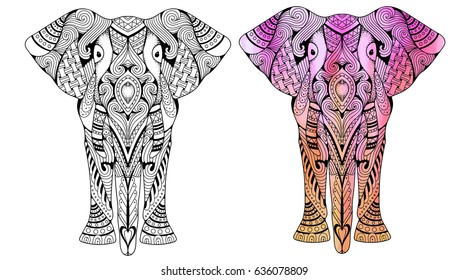 Elephant coloring book for adults vector illustration. Anti-stress coloring for adult. Zentangle style. Black and white lines. Lace pattern. Watercolor and monochrome variations