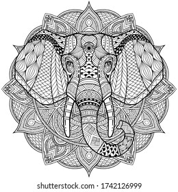 Elephant. Coloring is hand-drawn in the style of Zentangle, Doodle. Full face illustration animal's head black lines on a white background. Ethnic ornaments Indian, Mexican. Vector abstract background