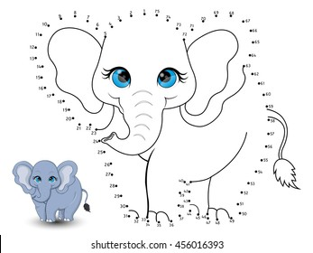 Elephant Connect the dot and color set 1