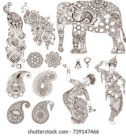 Elephant, dancers, peacock, paisley in the mehendi style. Set of ornate elements for design.