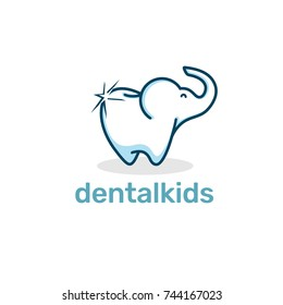 Elephant Dental Kid Logo and Icon Element Template