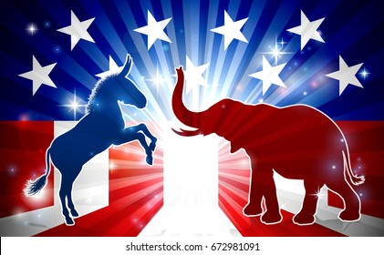 An elephant and donkey in silhouette facing off with an American flag in the background democrat and republican political mascot animals
