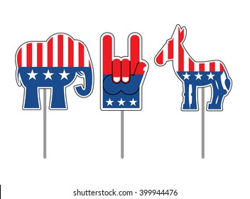 Elephant and donkey. Symbols of Democrats and Republicans. Political parties in USA. Foam finger for elections. Character set for elections, debate in America