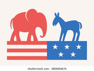 Elephant and Donkey Symbols of Republican and Democratic Party. USA Elections Campaign. Flat Vector Illustration