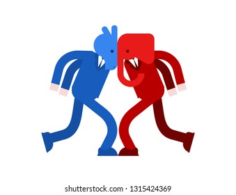 Elephant and Donkey versus. Democrat and Republican battle. Political patriotic vs. Red and blue fight