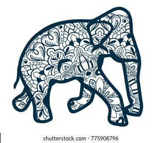 Elephant drawn with blue lines. Vector. Ornament. Isolated on white background. Indian elephant in traditional asian style. Bauble. Wood engraving. Laser cut template. Embroidery.