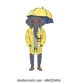 elephant dressed up in yellow raincoat, furry art illustration, fashion animals
