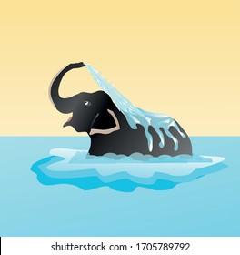 Elephant is enjoying by taking bath in river