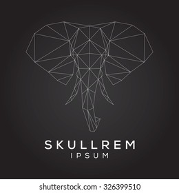 Elephant face emblem template for business. Abstract elephant head with grid lines. Vector illustration.