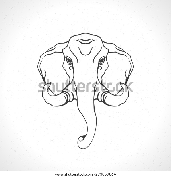 Elephant face logo emblem template mascot symbol for business or shirt design. Vector Vintage Design Element.