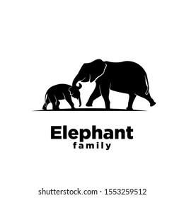 Elephant family black logo icon design vector illustration