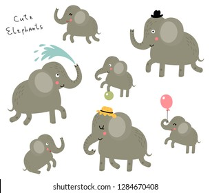Elephant family. Cute characters
