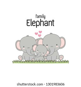 Elephant Family Father Mother and baby. Vector illustration.
