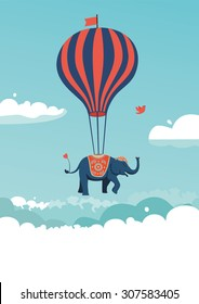 The elephant is flying above the clouds. Vector illustration.