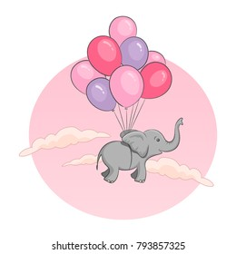 Elephant flying with balloons illustration